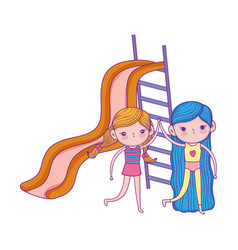 happy children day friendly girls with slide vector image