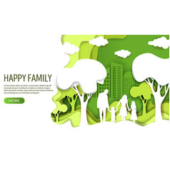 Happy family website landing page design vector