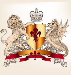 heraldic design with shield lion and dragon vector image