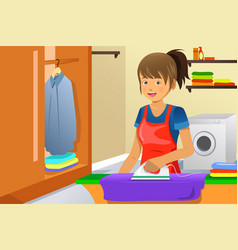 housewife ironing vector image