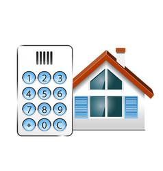 Intercom doorphone and house vector