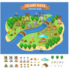 Island map with elements set vector