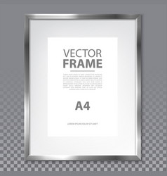 isolated realistic a4 frame with metallic border vector image