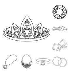 Jewelry and accessories outline icons in set vector