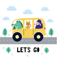 Let s go print with cute crocodile cat and sheep vector