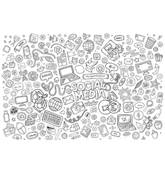 Line art Doodle cartoon set of objects and vector