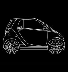 Linear mini car isolated minicar on dark vector