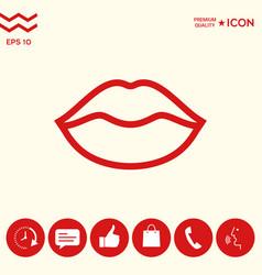 Lips linel icon vector
