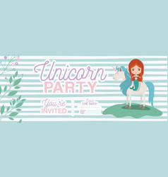 Mermaid with unicorn invitation card vector