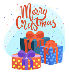 merry christmas presents and gifts greeting card vector image