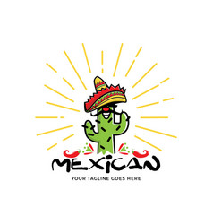 mexico cactus character logo vector image
