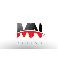 Mn m n brush logo letters with red and black vector
