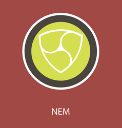 Nem accepted sign emblem crypto currency golden vector