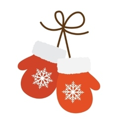 Pair red mittens vector