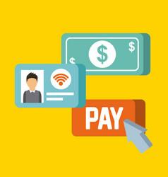 payment online dollar money internet concept vector image