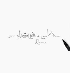 Pen line silhouette rome vector