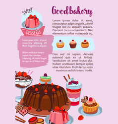 Poster for bakery shop pastry desserts vector