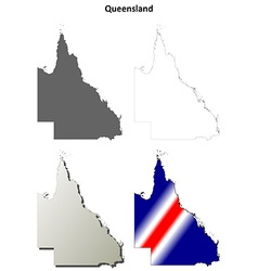 Queensland blank detailed outline map set vector image