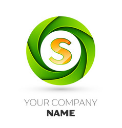 Realistic letter s logo in the colorful circle vector