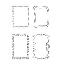 Rectangular hand drawn ornate frames set vector