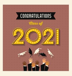retro 2021 graduation card or social media design vector image