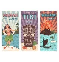 retro set banners with hawaiian symbols vector image