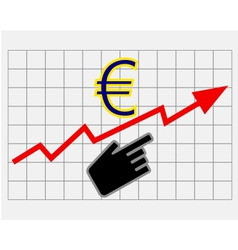 Rise equity price of euro vector image