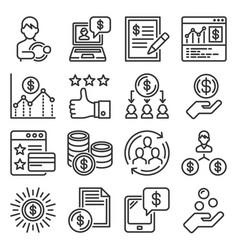 royalty program icons set on white background vector image