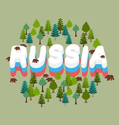 Russia Wildlife of Russian Federation Letters vector