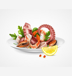 seafood cocktail plate vector image