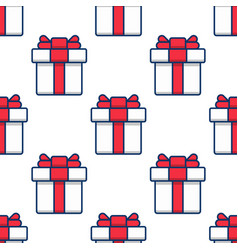 seamless pattern gift boxes on white background vector image