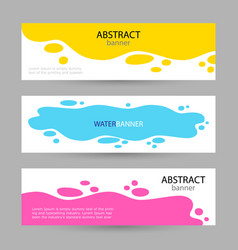 set bright abstract banners poured yellow blue vector image