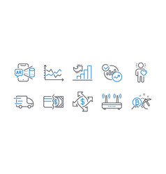 Set business icons such as statistics vector