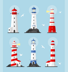 set lighthouses path lighting vector image