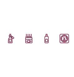 Set line essential oil bottle spray can vector