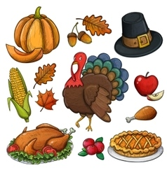 Set of colorful Thanksgiving icons vector