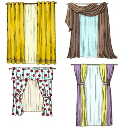 Set of curtains interior details Cartoon style vector