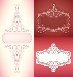 set of vintage border frame card with swirl lace vector image