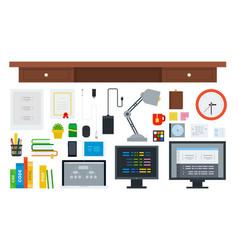 set programming workspace icons flat vector image