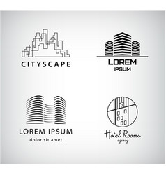 set silhouette logos city architecture vector image
