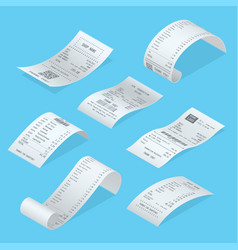 shopping bills curved short long with total cost vector image
