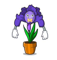 Silent iris flower mascot cartoon vector