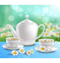 Teapot and cups composition vector
