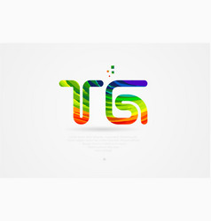 Tg t g rainbow colored alphabet letter logo vector