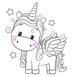unicorn outlined for coloring book isolated on a vector image