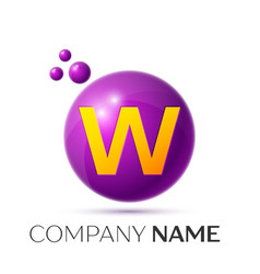 W letter splash purple dots and circle bubble vector