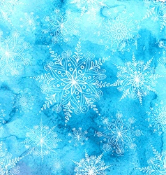 Watercolor background with snowflakes vector