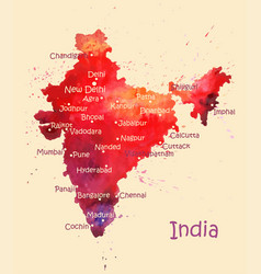 Watercolor map india with cities stylized vector