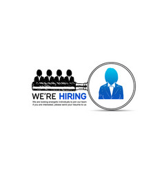 We are hiring magnifying glass choose vector
