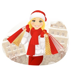Winter Shoping Girl vector image